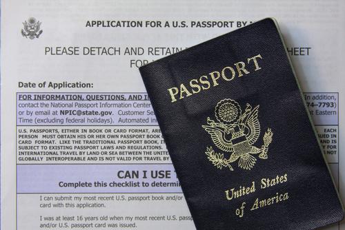 Passport on top of an application
